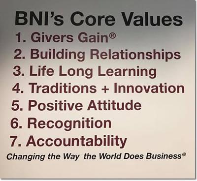 BNI Ventua County Core Values